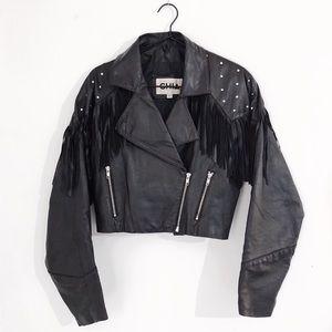 Vintage 100% Leather Chia Fringe + Studs Crop Coat